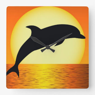 Dolphin Sunset Wall Clock