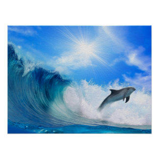 Dolphin Surf Poster