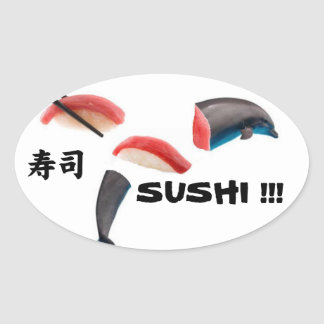 Dolphin Sushi Oval Sticker