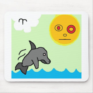 dolphin swim mouse pad