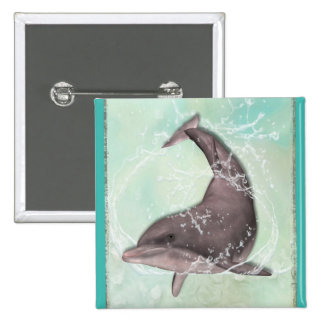 Dolphin Swimming Around in Cool Green Water Pinback Button
