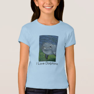 Dolphin Swimming: Color Pencil Art: Love Dolphins T-Shirt