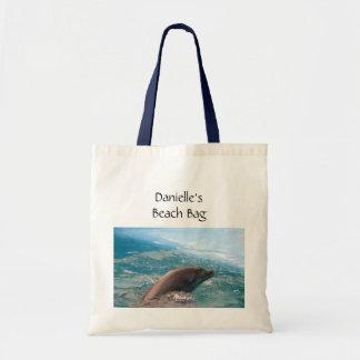 Dolphin Swimming in Blue Ocean Water Custom Name Budget Tote Bag