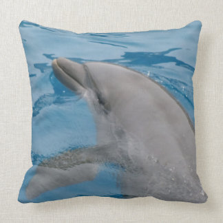 Dolphin Swimming In Deep Blue Ocean Waters Throw Pillow