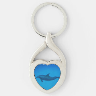 Dolphin Swimming Silver-Colored Heart-Shaped Metal Keychain