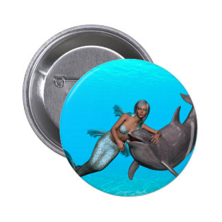 Dolphin swimming with a mermaid button