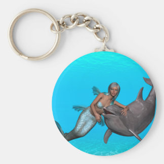 Dolphin swimming with a mermaid keychains