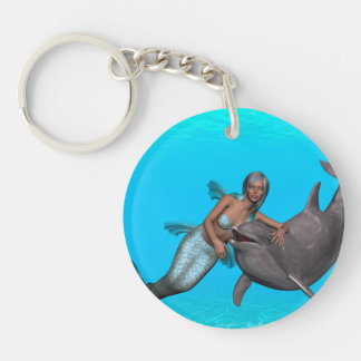 Dolphin swimming with a mermaid acrylic keychains