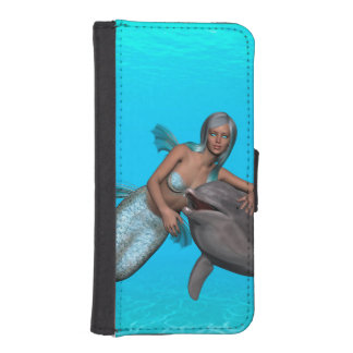 Dolphin swimming with a mermaid phone wallets