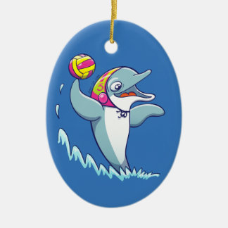 Dolphin throwing the ball while playing water polo ceramic ornament