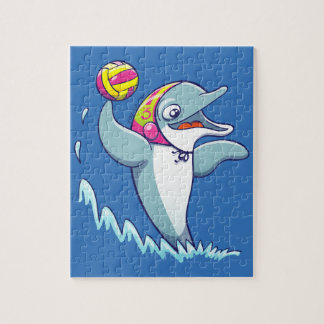 Dolphin throwing the ball while playing water polo jigsaw puzzle