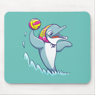 Dolphin throwing the ball while playing water polo mouse pad