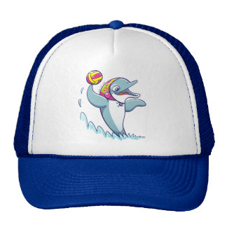 Dolphin throwing the ball while playing water polo trucker hat