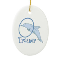 Dolphin Trainer Ceramic Ornament
