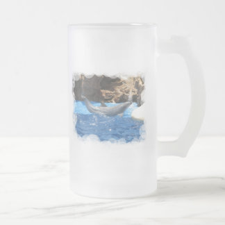 Dolphin Tricks Frosted Beer Mug