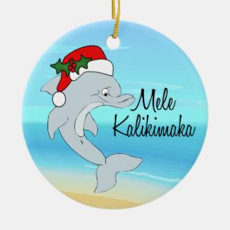 Dolphin Tropical Hawaiian Christmas Ornament