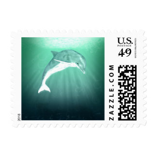 Dolphin Turquoise Water Stamp