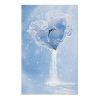 Dolphin Water Heart Poster