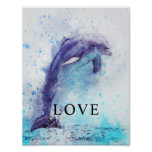 Dolphin Watercolor Office Decor Matte Poster