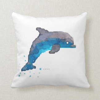 Dolphin Watercolor Pillow