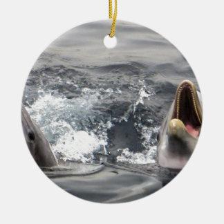 dolphin wave water tropical dive swim Aquatic Life Ceramic Ornament