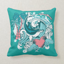 Dolphin Waves Island Breeze Graphic Throw Pillow
