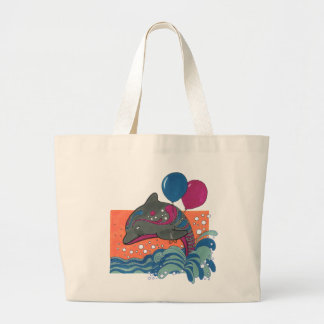 Dolphin with Balloons Jumbo Tote Bag