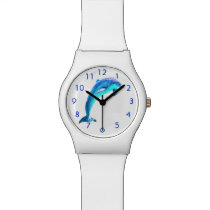 Dolphin With Blue Numbers Wristwatch