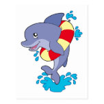 Dolphin with inflatable ring post card