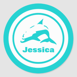 Dolphin with Name Classic Round Sticker
