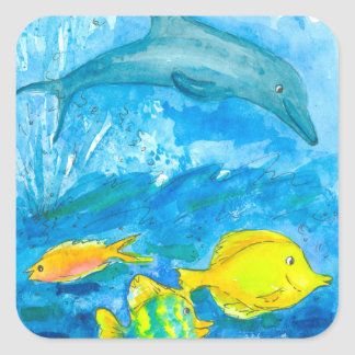 Dolphin Yellow Tang Tropical Fish Square Sticker