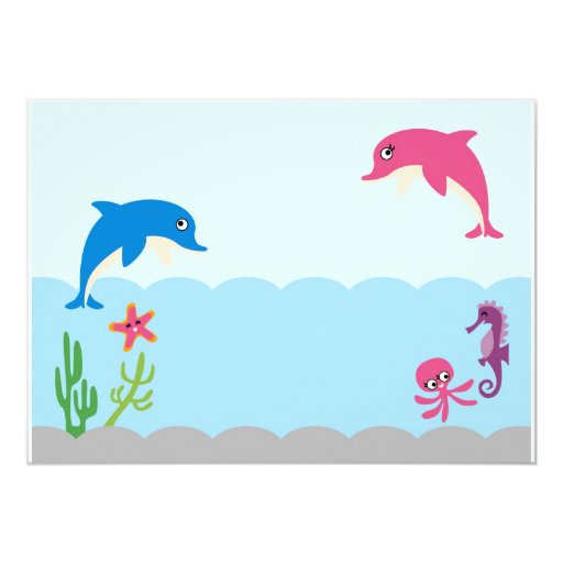 DolphinAF4 5x7 Paper Invitation Card