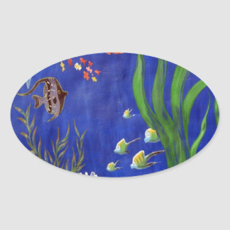 Dolphins and fish oval sticker