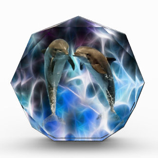 Dolphins and fractal crystals acrylic award