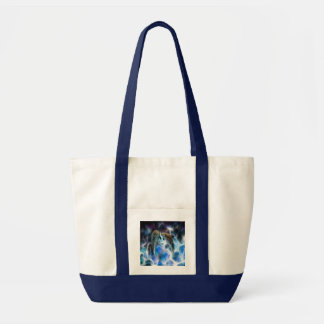Dolphins and fractal crystals canvas bag