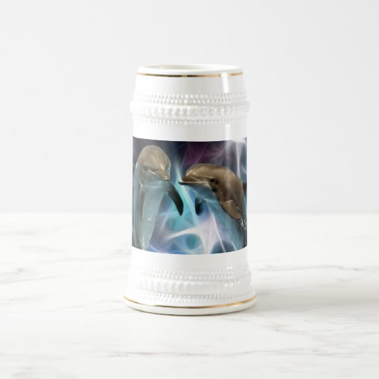 Dolphins and fractal crystals beer stein
