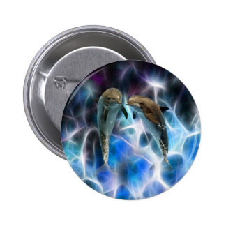 Dolphins and fractal crystals pinback buttons