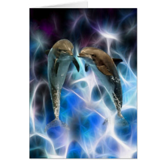 Dolphins and fractal crystals greeting cards
