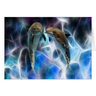 Dolphins and fractal crystals card