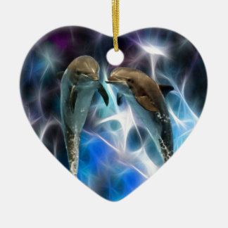 Dolphins and fractal crystals ceramic ornament