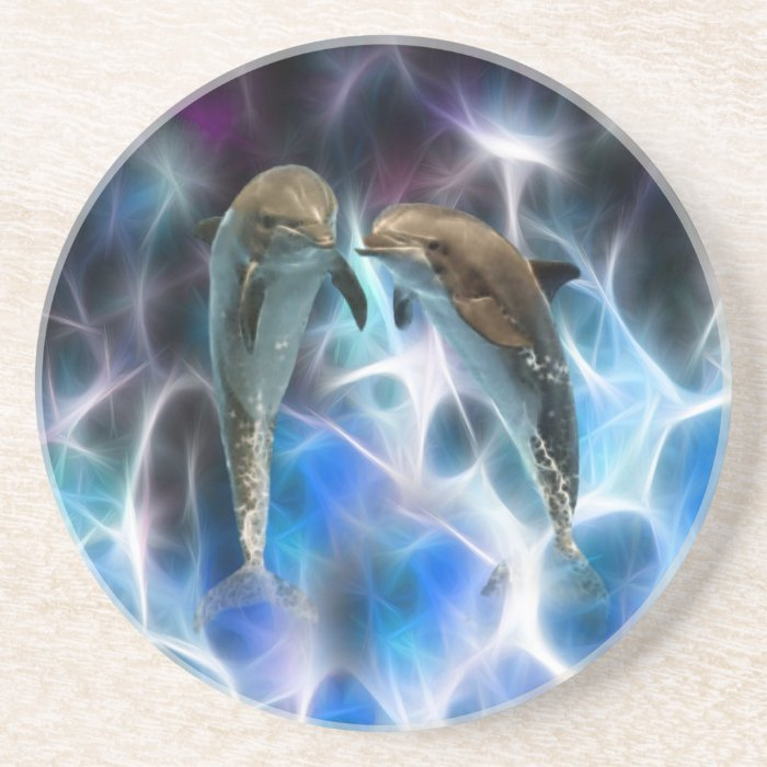 Dolphins and fractal crystals coaster