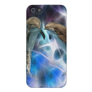 Dolphins and fractal crystals cover for iPhone SE/5/5s