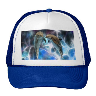Dolphins and fractal crystals mesh hat