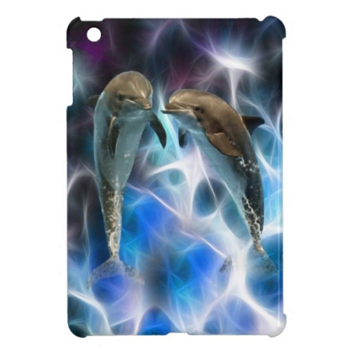 Dolphins and fractal crystals case for the iPad mini