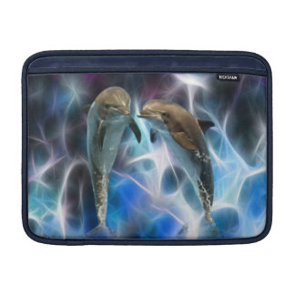 Dolphins and fractal crystals MacBook sleeves