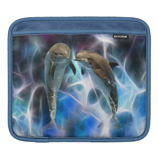 Dolphins and fractal crystals iPad sleeve