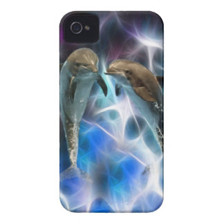Dolphins and fractal crystals iPhone 4 Case-Mate case