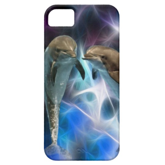 Dolphins and fractal crystals iPhone SE/5/5s case