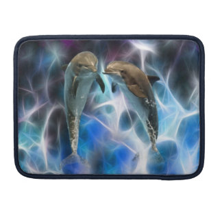 Dolphins and fractal crystals MacBook pro sleeve