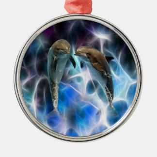 Dolphins and fractal crystals metal ornament